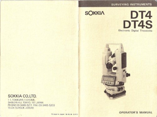 Operator S Manual Sokkia DT4 And DT4S Glm