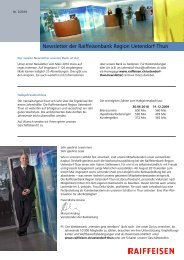 Newsletter der Raiffeisenbank Region Uetendorf-Thun