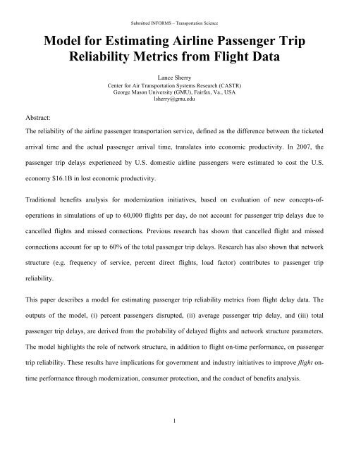 Model for Estimating Airline Passenger Trip Reliability