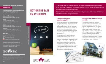 NOTIONS DE BASE EN ASSURANCE - Insurance Bureau of Canada