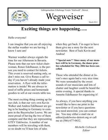 Wegweiser - GTEV Edelweiss Detroit