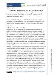 Von der Ideenkiste zur Forschungsfrage - Universität Duisburg-Essen