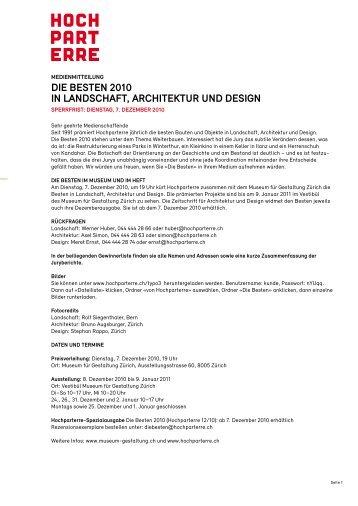 die Besten 2010 in landschaft, architektur und design - Stadler