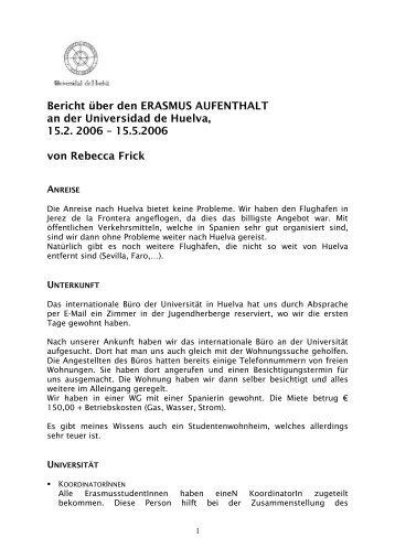 Bericht über den ERASMUS AUFENTHALT an der Universidad de ...