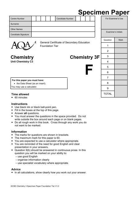 GCSE Chemistry Specimen Question Paper Foundation     - AQA