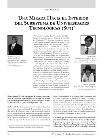 UNA MIRADA HACIA EL INTERIOR DEL SUBSISTEMA DE ... - Senac
