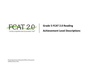 Grade 5 FCAT 2.0 Reading - Florida Department of Education