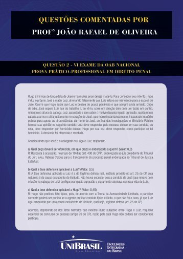 Questões CoMeNtADAs PoR PRoF° João RAFAeL De ... - UniBrasil