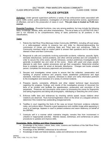 Job Description and Benefits Overview - Salt River Pima-Maricopa ...