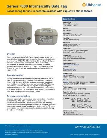 Series 7000 Intrinsically Safe Tag - Ubisense
