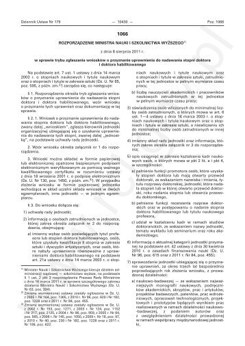 Rozporządzenie Ministra Nauki i Szkolnictwa Wyższego z dnia 8 ...