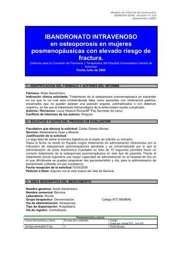 Informe Ibandronato - Hospital Universitario Central de Asturias