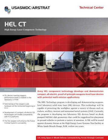 HEL Component Technology - Space and Missile Defense ...