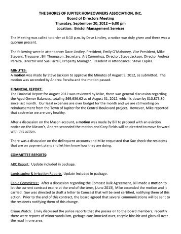 BOD Minutes for September 20, 2012 - Bristol Management