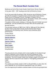 The Dorset Bach Cantata Club - Bach Cantatas