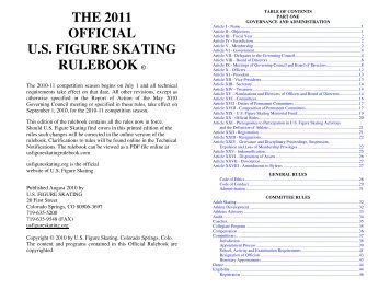 THE 2011 OFFICIAL U.S. FIGURE SKATING RULEBOOK ©