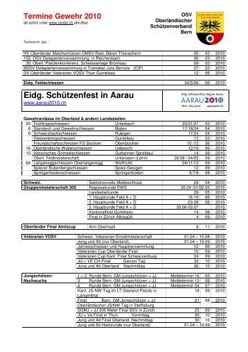 Terminkalender OSV - Oberländischer Schützenverband