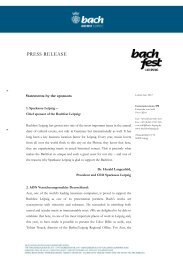 Statement by the sponsors - Bach-Archiv Leipzig