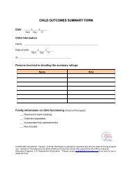 child outcomes summary form - FPG Child Development Institute