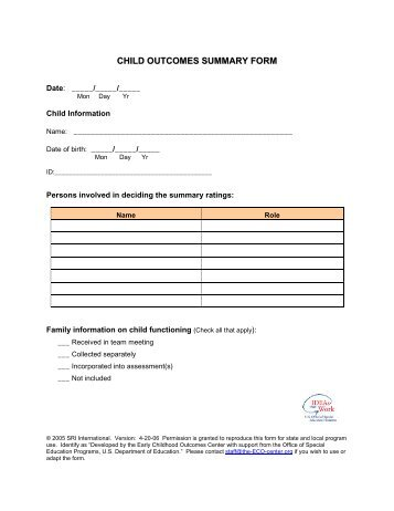 child outcomes summary form - FPG Child Development Institute