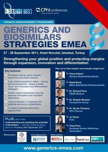 GENERICS AND BIOSIMILARS STRATEGIES EMEA
