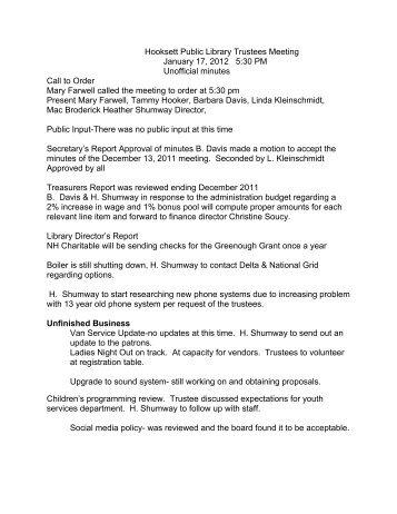Hooksett Public Library Trustees Meeting January 17, 2012 5:30 PM ...