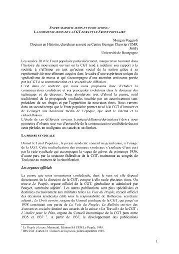 Morgan Poggioli - Institut d'Histoire Sociale CGT