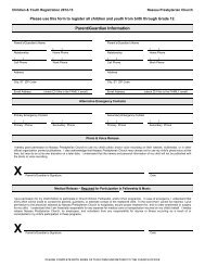 A master registration form for all children's and youth choirs is ...