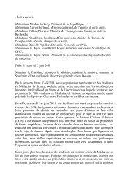 - Lettre ouverte - à Monsieur Nicolas Sarkozy, Président de ... - APIMA