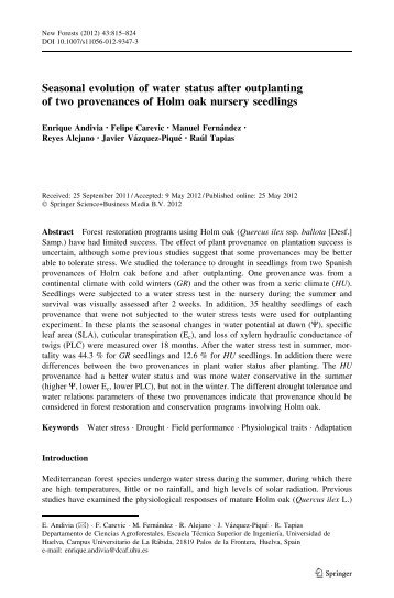 Seasonal evolution of water status after outplanting of two ...