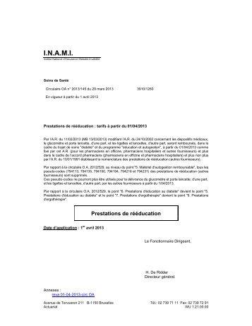 Tarifs de la Rééducation fonctionnelle – A partir du 01/04/2013 - Inami