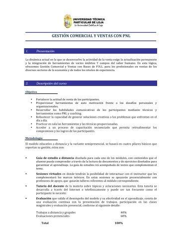 gestión comercial y ventas con pnl - Universidad Técnica Particular ...
