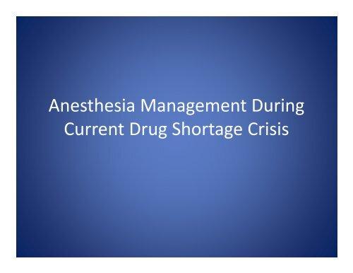 Drug Shortage 2012
