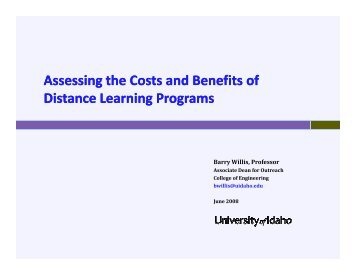 Assessing the Costs and Benefits of Distance Learning Programs