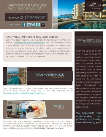 YOUR MAINTENANCE IN SUITE - Cabo Villas Beach Resort and Spa