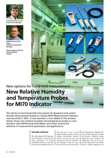 New Relative Humidity and Temperature Probes for MI70 ... - Vaisala