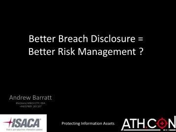 Better Breach Disclosure = Better Risk Management ? - Isaca