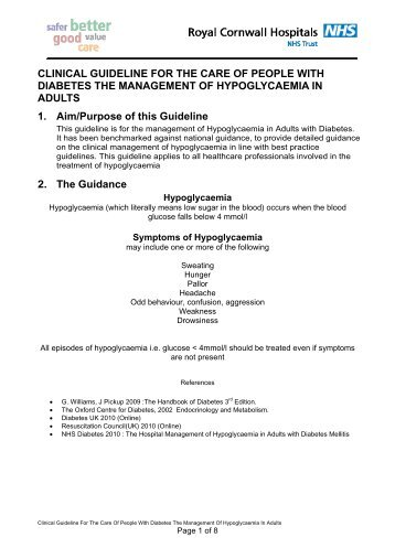Guidelines for the management of hypoglycaemia in adults