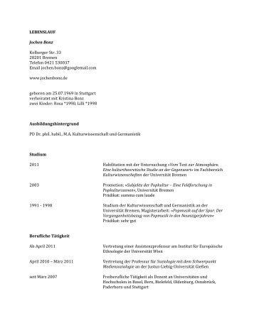 LEBENSLAUF Jochen Bonz Kolberger Str. 33 28201 Bremen ...