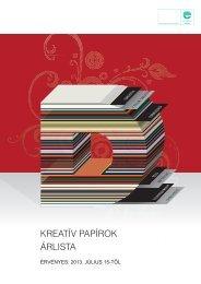 Kreatív specialitások árlista - Europapier