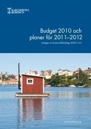 Budget 2010 och planer för 2011–2012 - Karlskrona kommun
