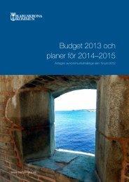 Budget 2013 och planer för 2014–2015 - Karlskrona kommun