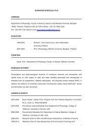 Curriculum Vitae - Mahidol University
