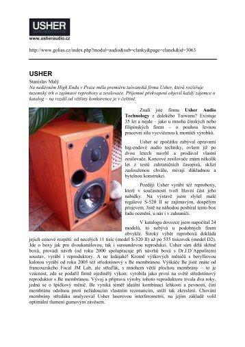 zde v PDF - USHER Audio Technology ČR & SR