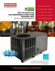Goodman GPH14H Package Heat Pumps Consumer Brochure