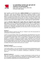 Scheda FLC CGIL su spending review - Università e ricerca