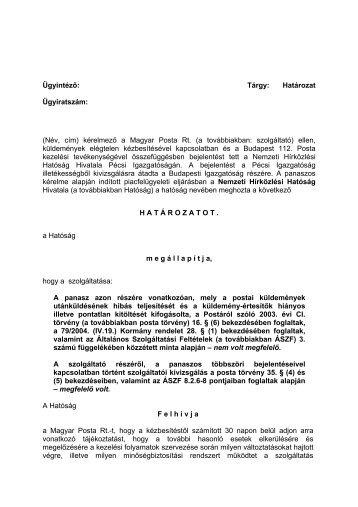 határozata a Magyar Posta Rt-vel kapcsolatos eljárásban.