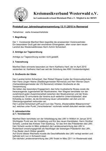Protokoll zur Vorstandssitzung vom 14 - Kreismusikverband ...