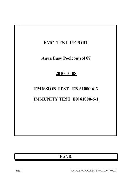 EMC TEST REPORT Aqua Easy Poolcontrol 07 2010-10     - Pomaz