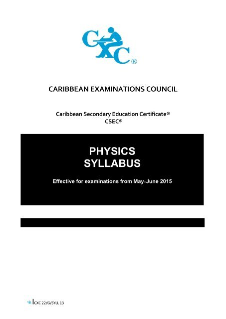 CSEC Physics Syllabus With Specimen Papers And Mark Scheme Keys